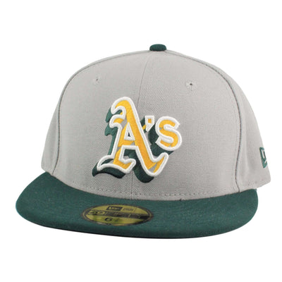 New Era Oakland A's Neon Logo Pop Gray/Green Fitted