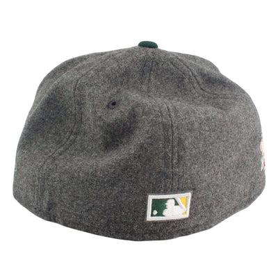 New Era Oakland A's White Logo Melton Gray/Green Fitted