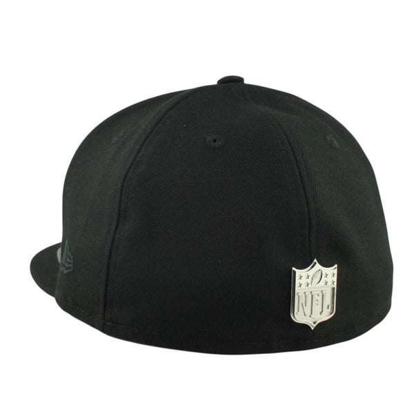 3ba7c4b2 Oakland Raiders Golden Finish Silver Metal Black/Black Fitted | New Era |  Bespoke Cut and Sew