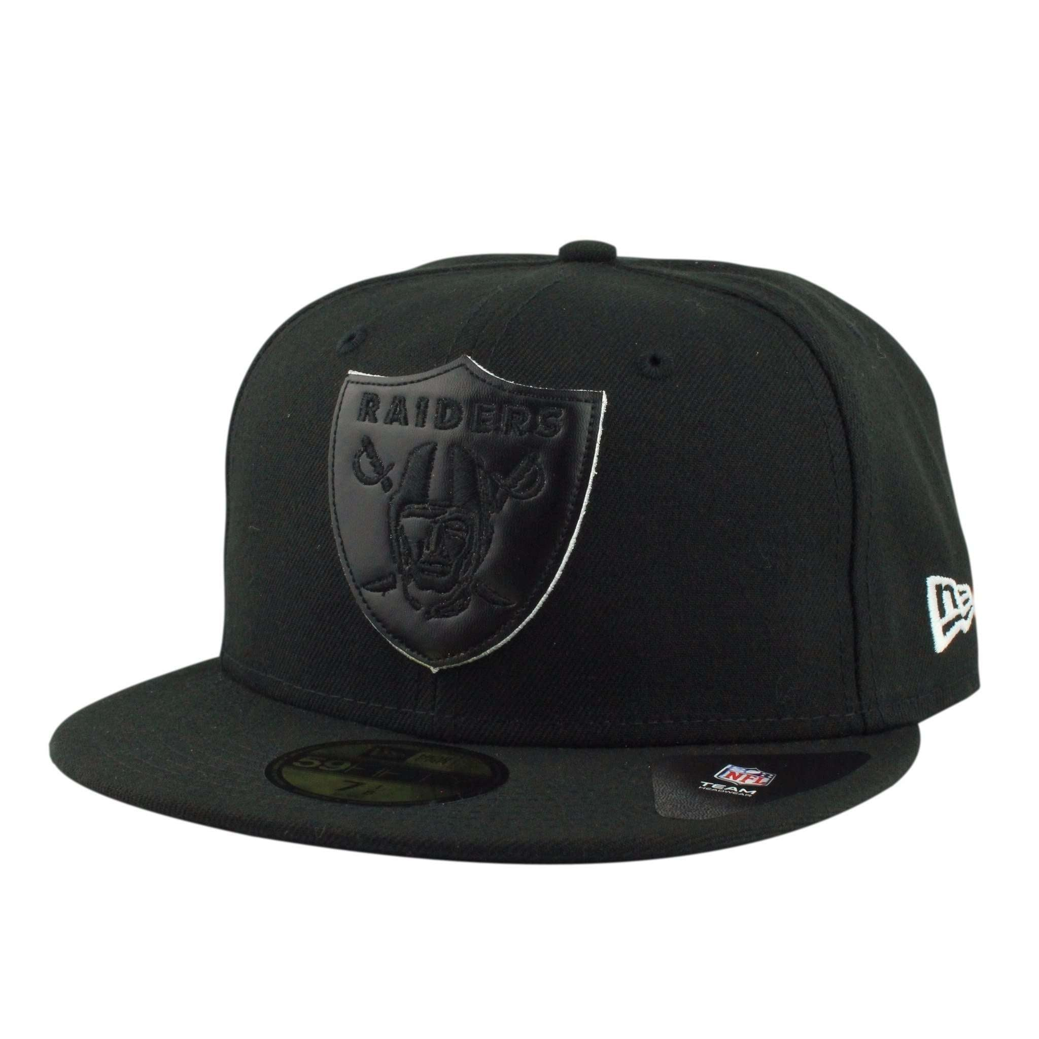 Oakland Raiders Leather Pop Black Black Fitted  b217439e9