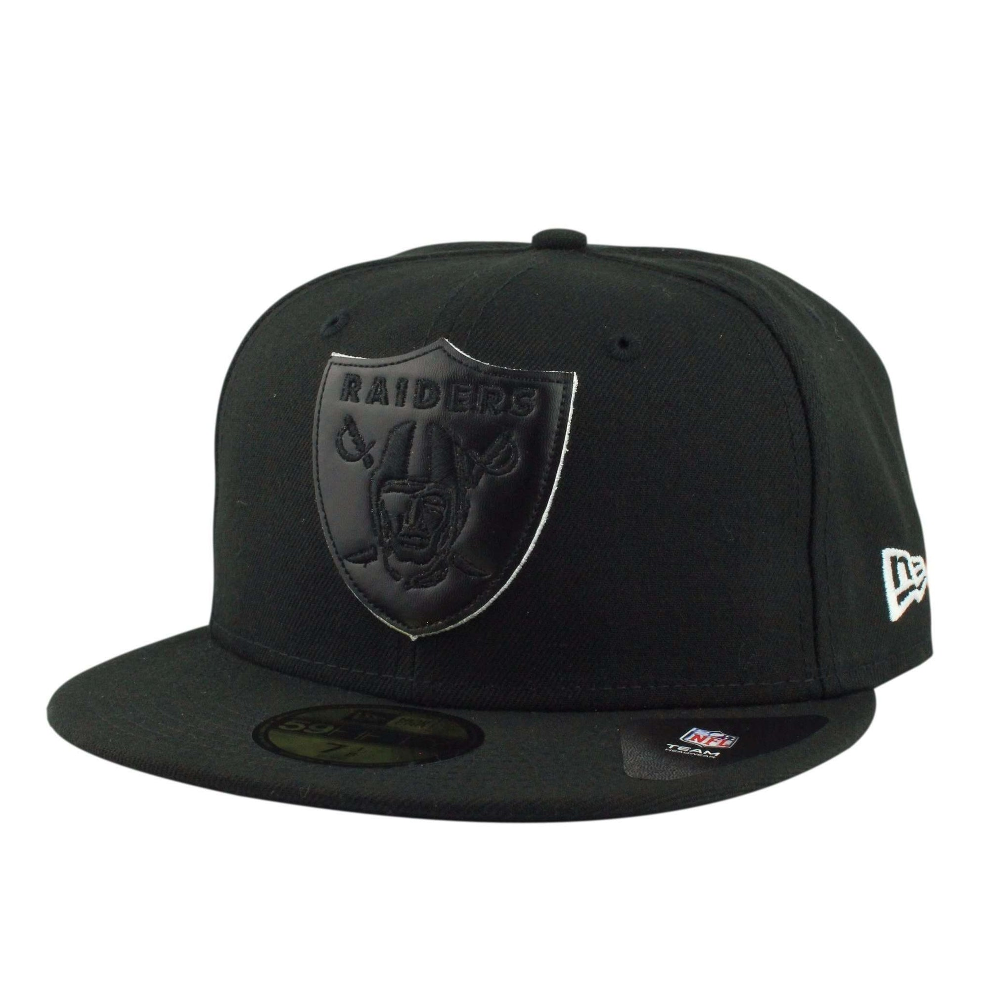5c155960 Oakland Raiders Leather Pop Black/Black Fitted | New Era | Bespoke ...