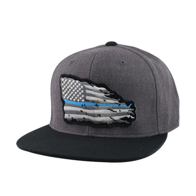 Oscar Mike Oscar Mike Blue Line American Tattered Flag Patch Dark Gray/BlackSnapback