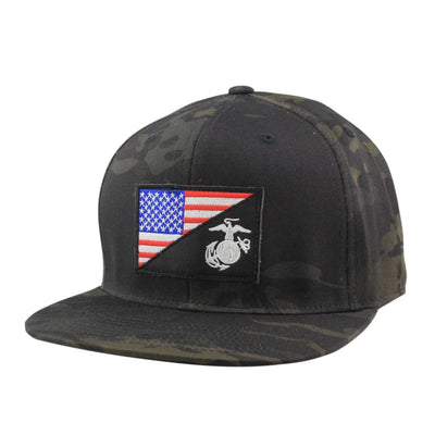 Oscar Mike Oscar Mike Marines US Flag Patch Black Camo/Black Camo Snapback
