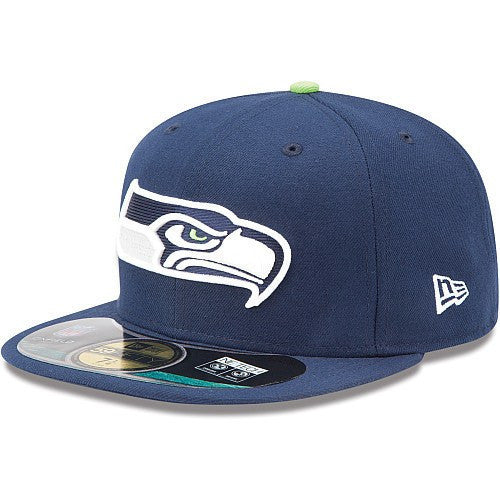 New Era NFL Fitteds, Seattle Seahawks On Field Blue/Blue Fitted - Bespoke Cut and Sew