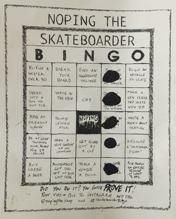 Noping The Shop's Skateboarder Bingo