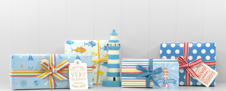 Nautical wrapping paper and gift tags and letterpress for fun birthdays