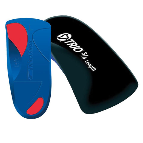 Pair of Blue and Red Talarmade Trio 3/4 Length Orthotics