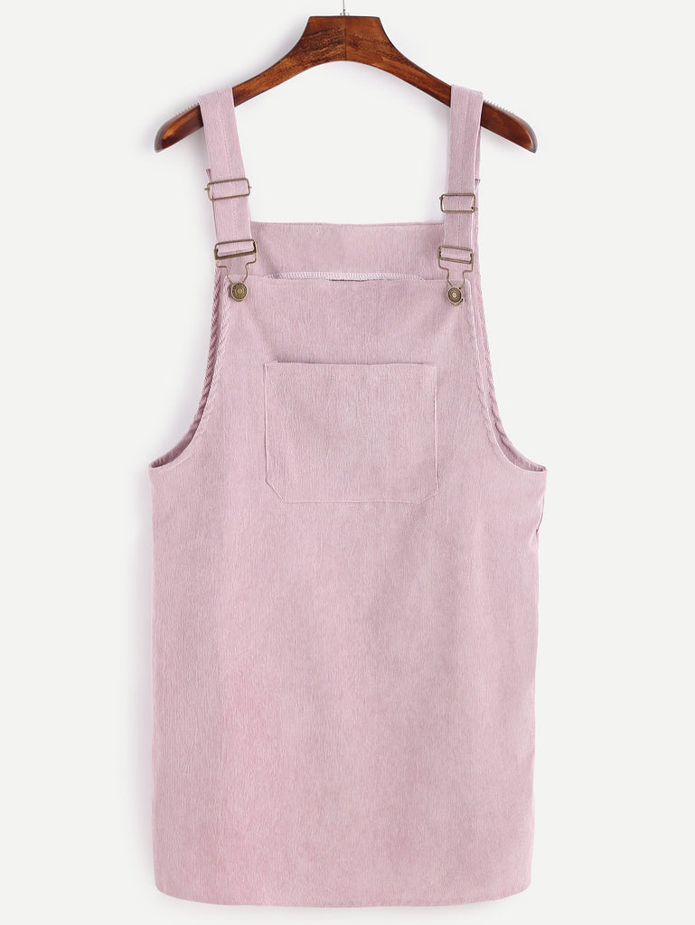 Corduroy Pinafore Dress - Pink