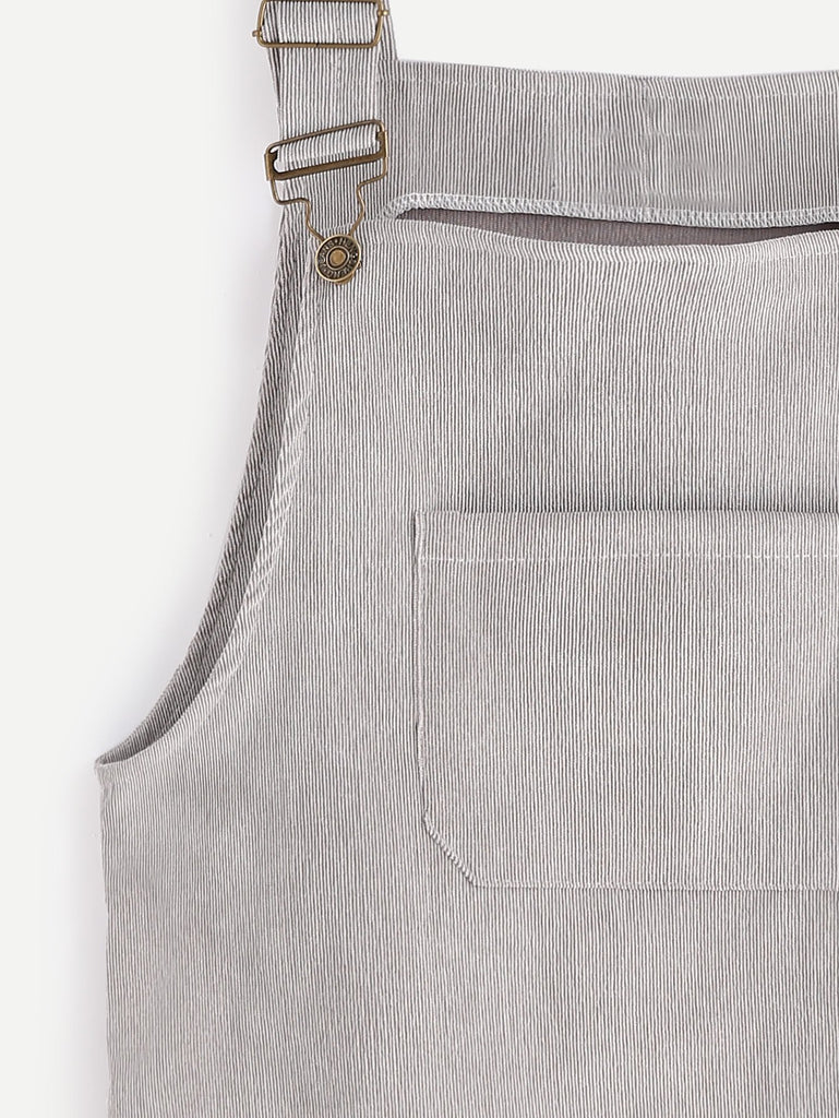 Corduroy Pinafore Dress - Grey