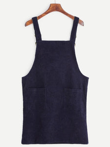 Corduroy Pinafore Dress - Navy