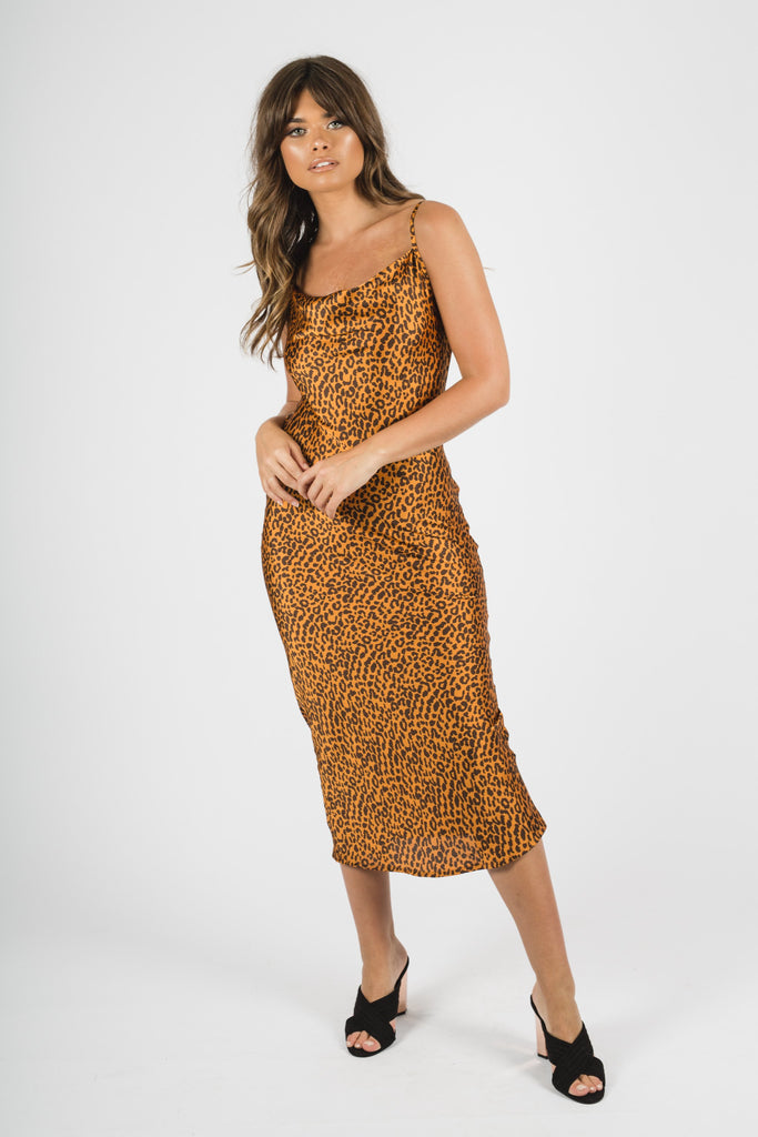 Yellow Leopard Midi Dress