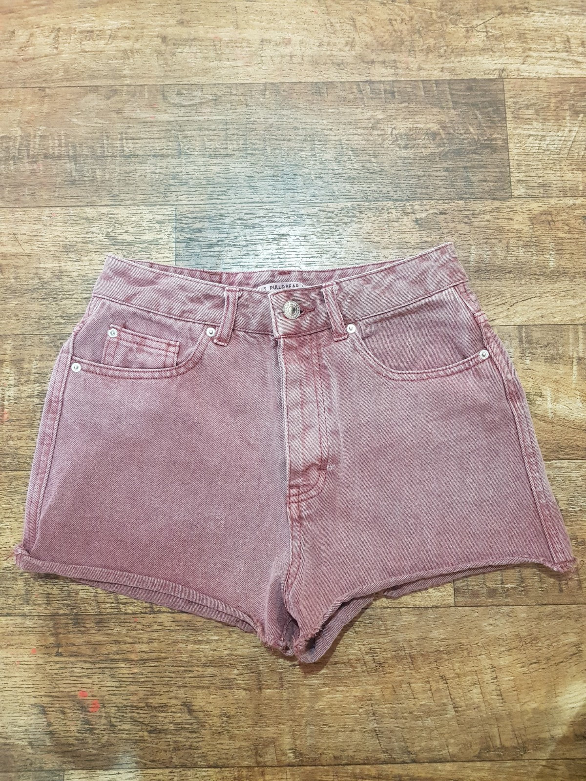 Pre-loved Maroon Denim Shorts. Size 24.