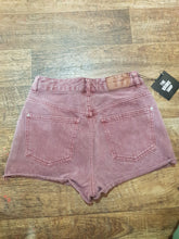 Load image into Gallery viewer, Pre-loved Maroon Denim Shorts. Size 24.