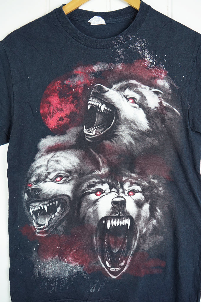 Preloved Animals - Angry Wolf Black Tee - Small