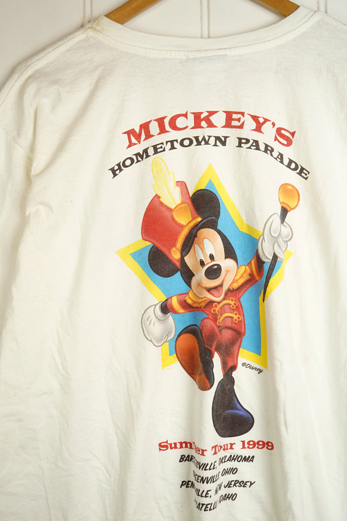 Vintage Cartoon - Mickey Parade White Tee - 2XLarge