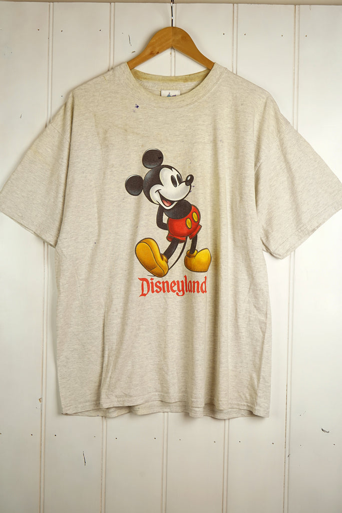 Vintage Cartoon - Mickey Disneyland Grey Tee - XLarge