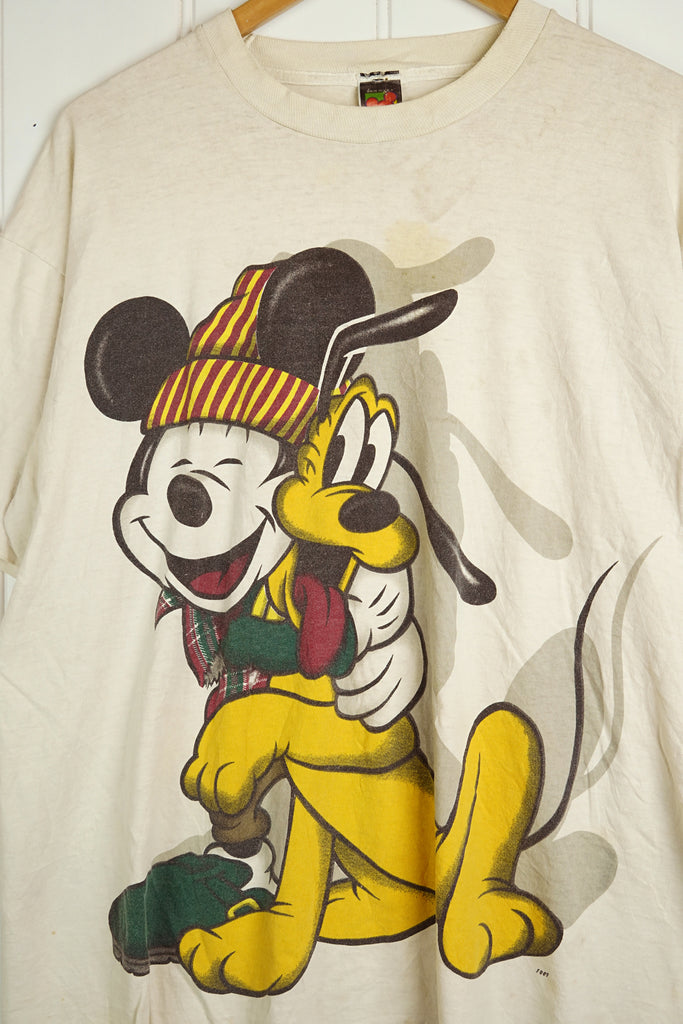 Vintage Cartoon - Pluto White Tee - XLarge