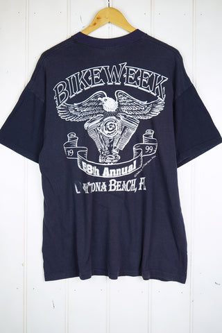 Vintage Bike - 99 Bike Week Navy Tee - XLarge