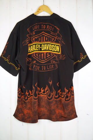 Vintage Party Shirt - Harley Shirt - Large