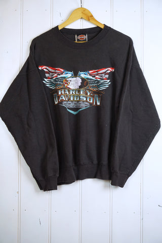 Vintage Harley - Milwaukee Faded Black Sweatshirt - Large