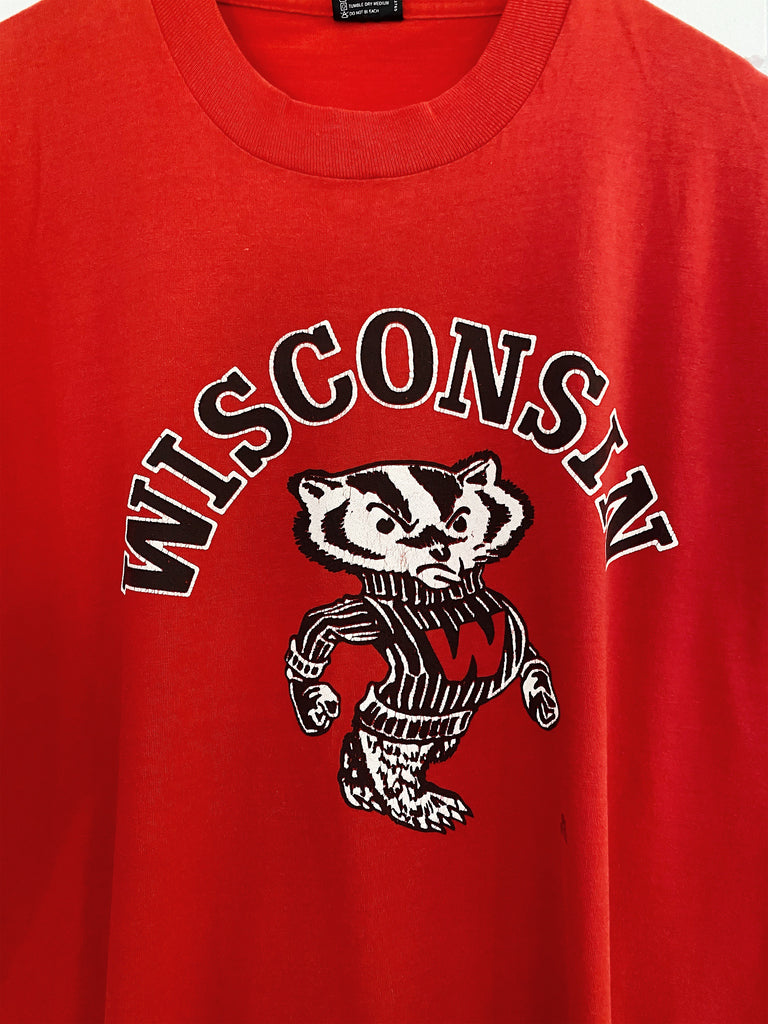 Vintage Sports - 80s Wisconsin Badgers Red Tee - Large