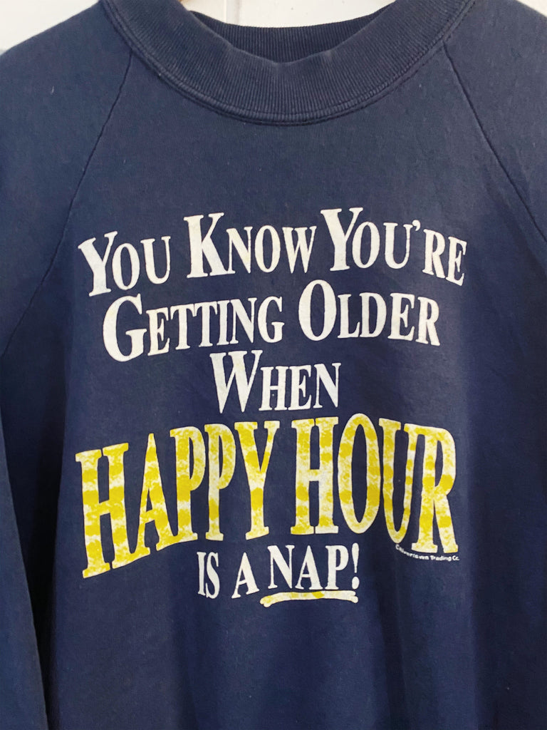 Vintage Pop Culture - Happy Hour Faded Navy Sweatshirt - Medium