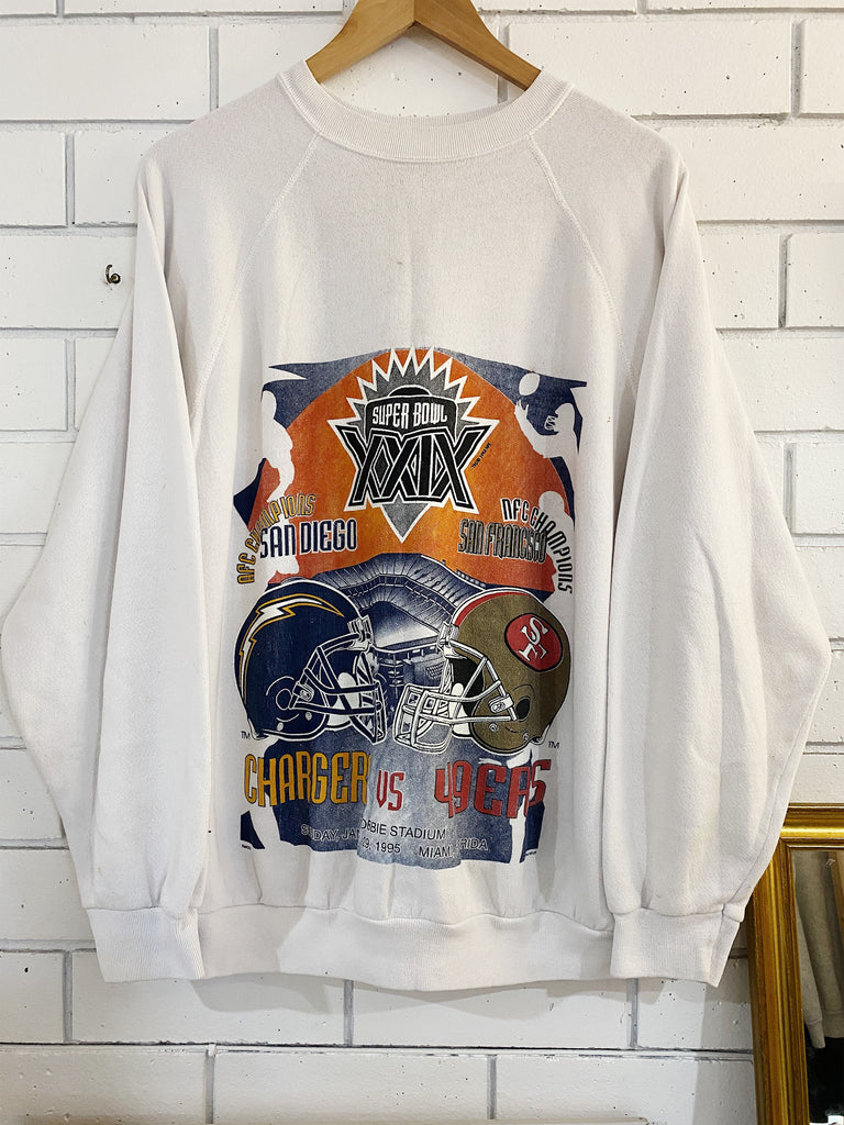Vintage Sports - 1995 Superbowl White Sweatshirt - XLarge
