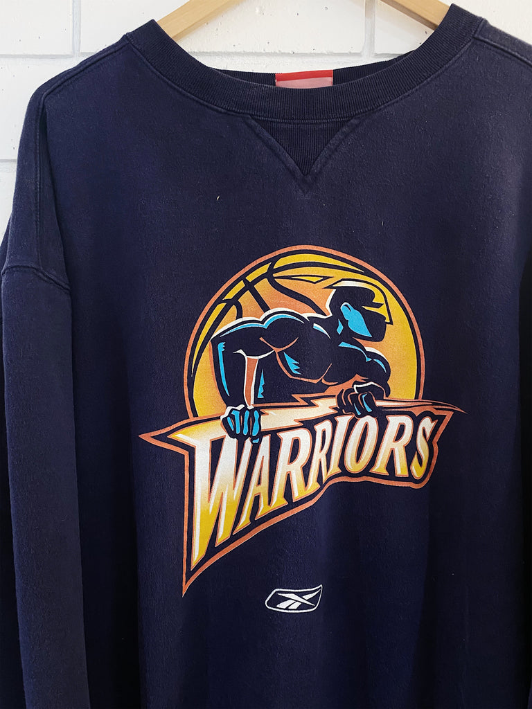 Vintage Sports - Golden State Warriors Navy Sweatshirt - 2XLarge