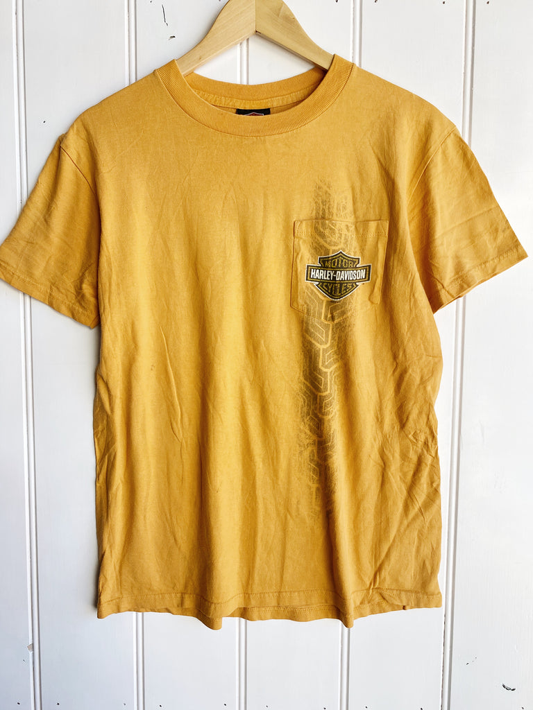 Preloved Harley - Yankee Yellow Pocket Tee - Medium