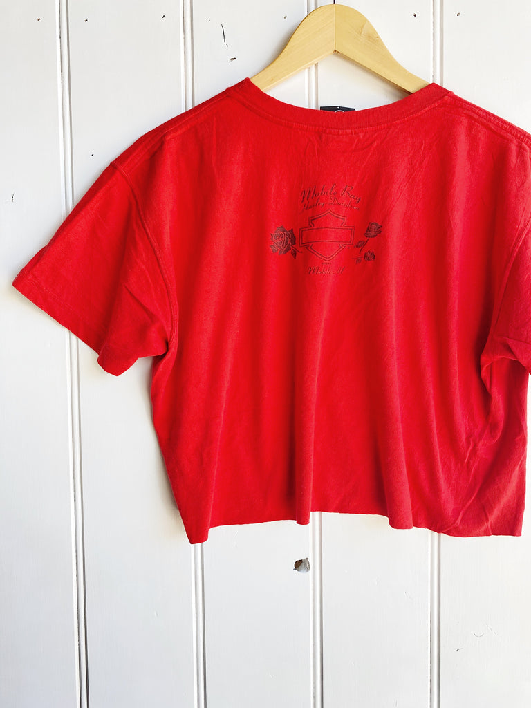 Vintage Harley - Mobile Bay Red Cropped Tee - Large