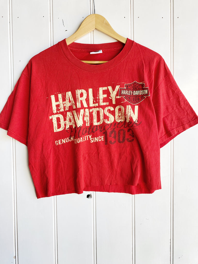 Preloved Harley - Quality Since Red Cropped Tee - Medium
