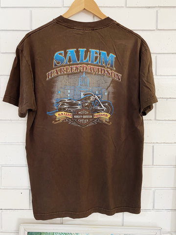 Preloved Harley - Salem Oregon Brown Tee - Large