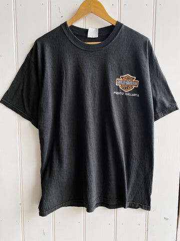 Vintage Harley - Puerto Vallarta Faded Black Tee - Large