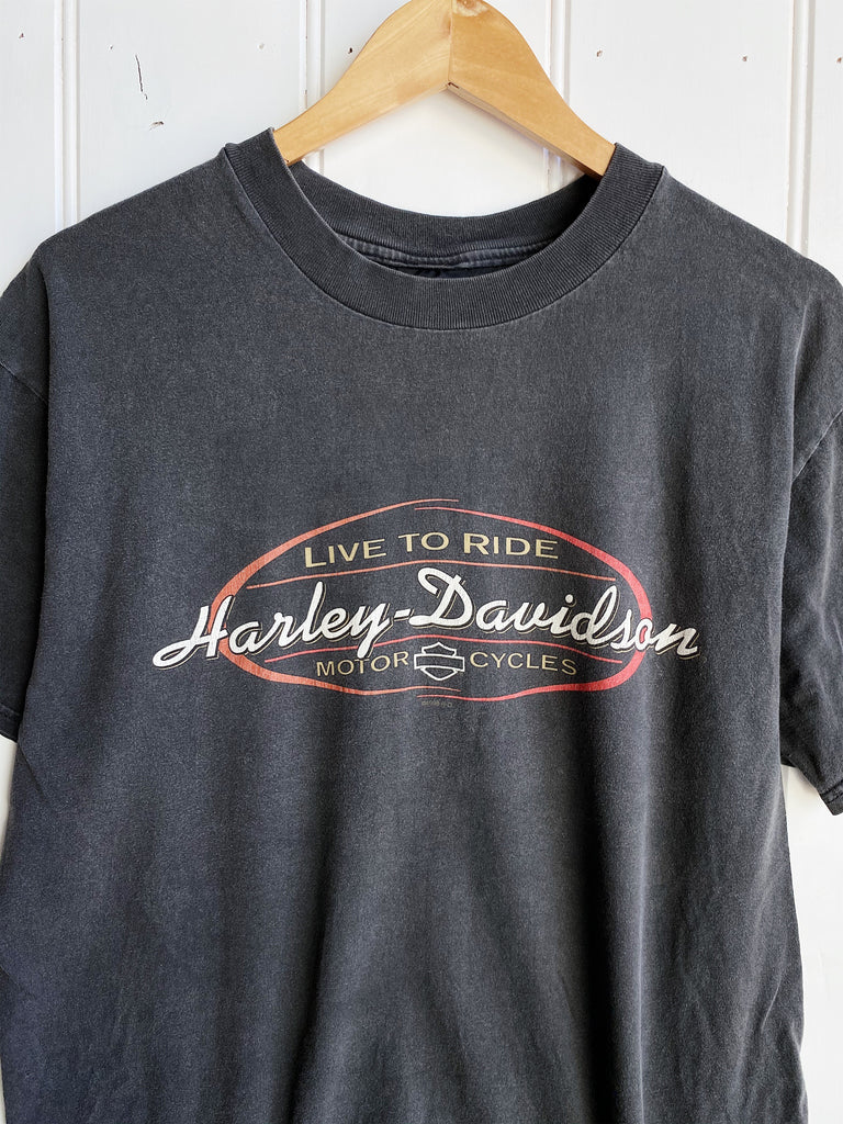 Vintage Harley - Barnett Texas Faded Black Tee - Medium