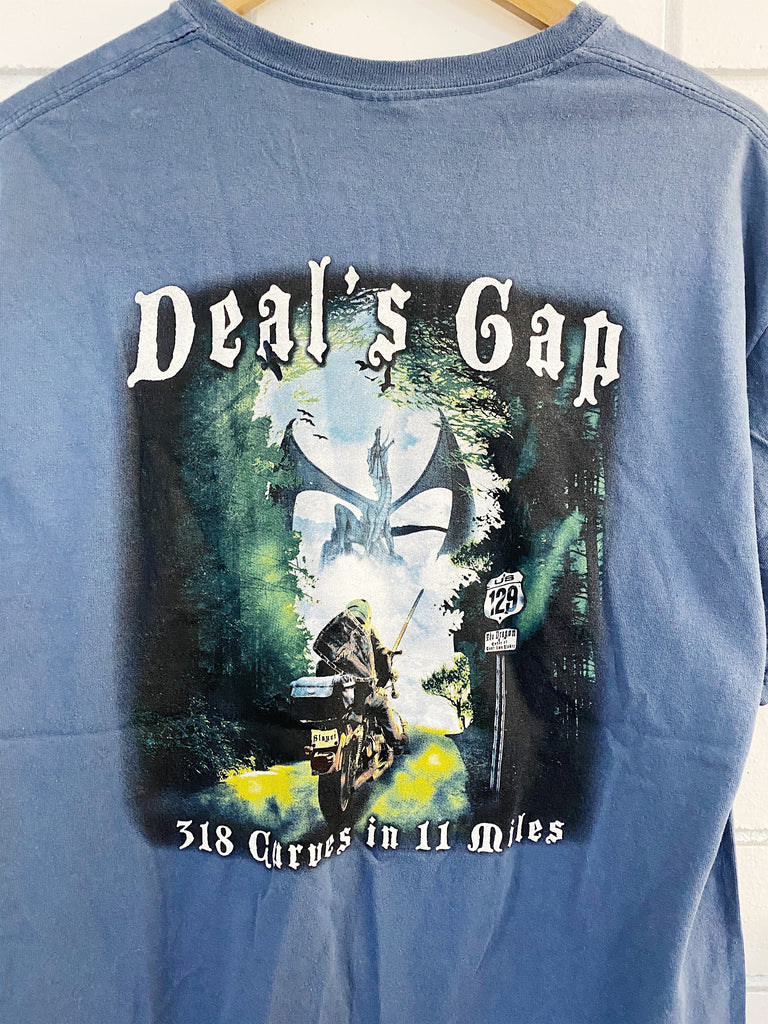 Preloved Motorcycles - Deal's Gap Blue Tee - Large