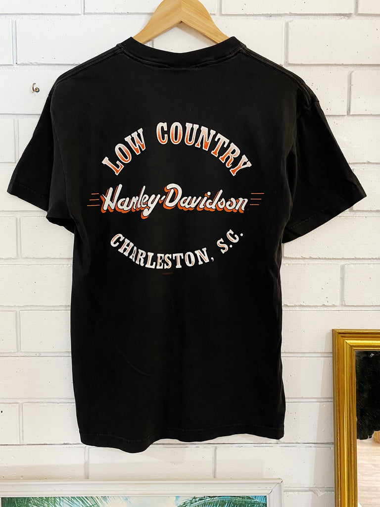 Vintage Harley - Low Country Faded Black Tee - Medium