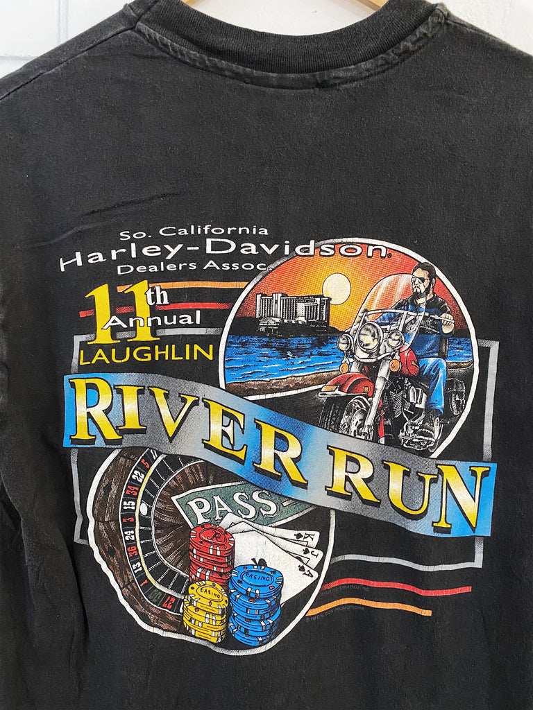 Vintage Harley - 1993 Laughlin River Run Faded Black Tee - Medium