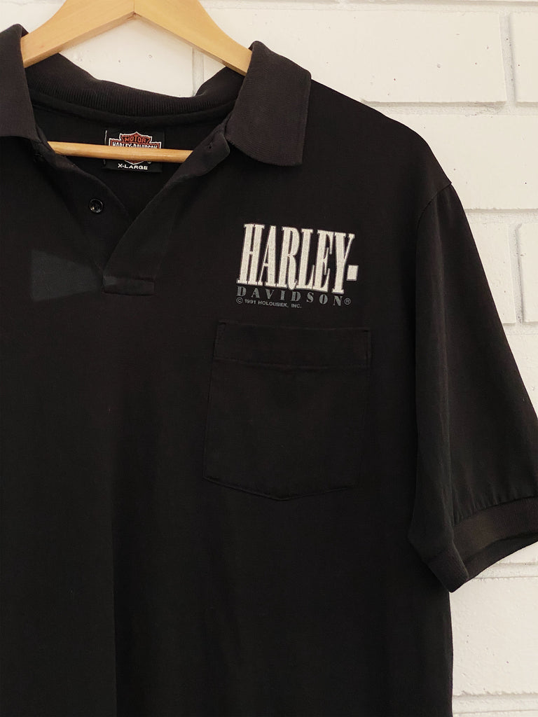 Vintage Harley 90's Mt Vernon black Polo Shirt - Large