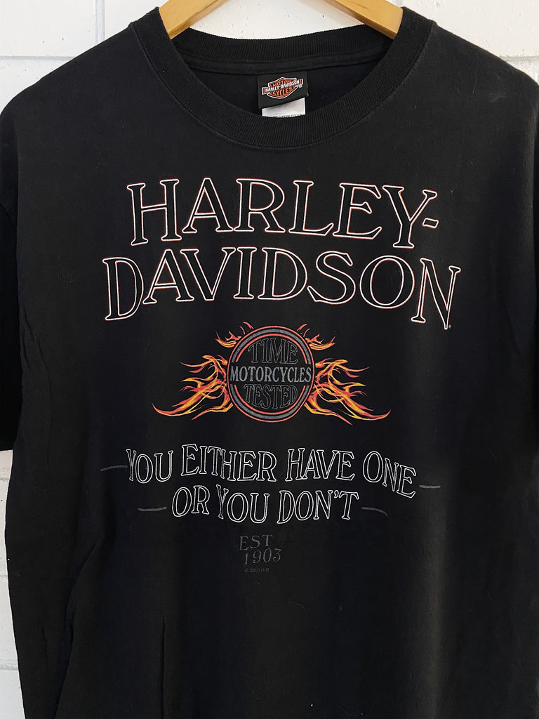 Preloved Harley - Spykes Clinton County Black Tee - Large