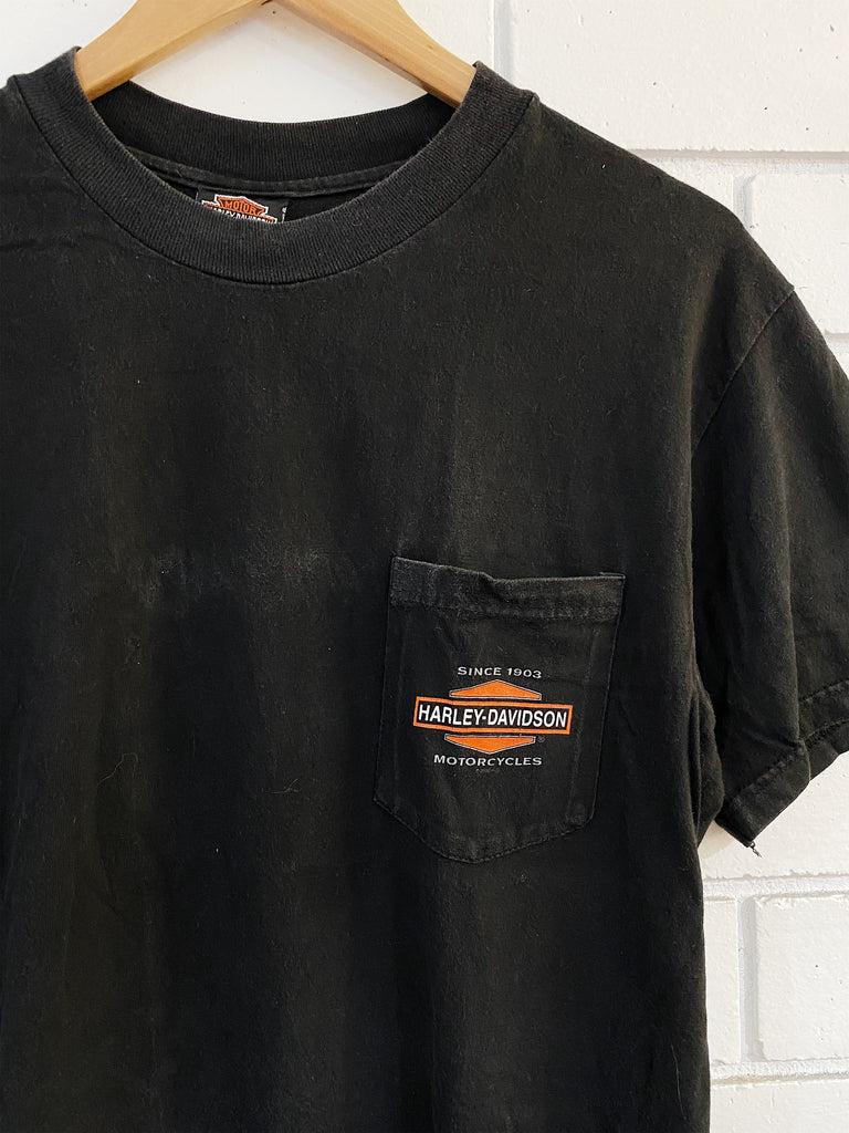 Vintage Harley - McMahon's Faded Black Pocket Tee - Medium