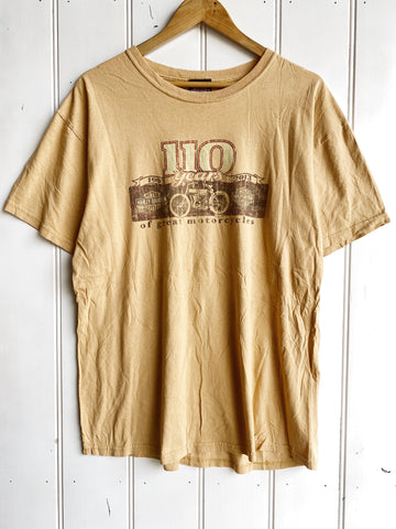 Preloved Harley - 110 Years Tan Tee - Large