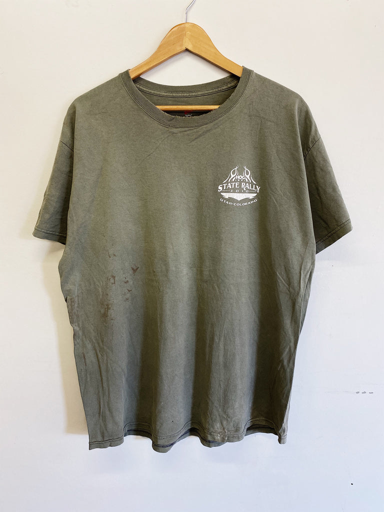 Vintage Harley - 2010 HOG Rally Faded Green Tee - XLarge