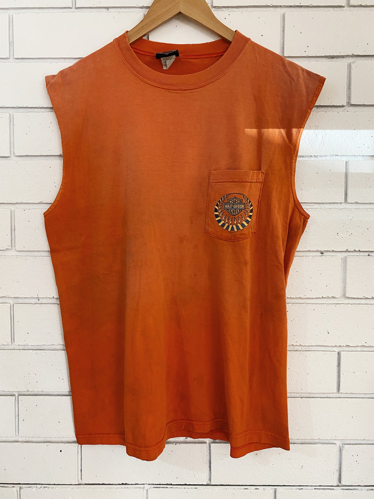 Vintage Harley - Gerencers Orange Singlet - Large