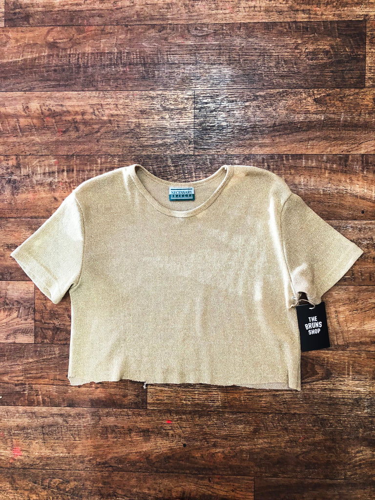 "Vintage gold ""Necessary Objects"" crop - Medium"