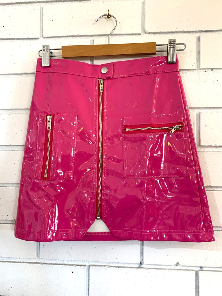 Pink Pleather Skirt Small