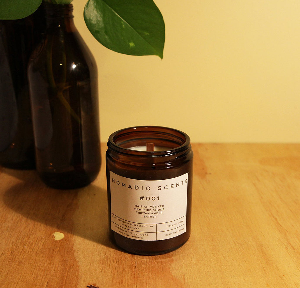 Nomadic Scents - #001 - Vetiver / Leather / Campfire Smoke / Amber - 150ml Candle
