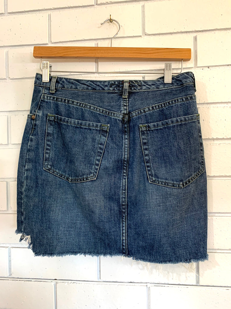 "Vintage ""FCUK"" Denim Cut off Skirt - Medium"
