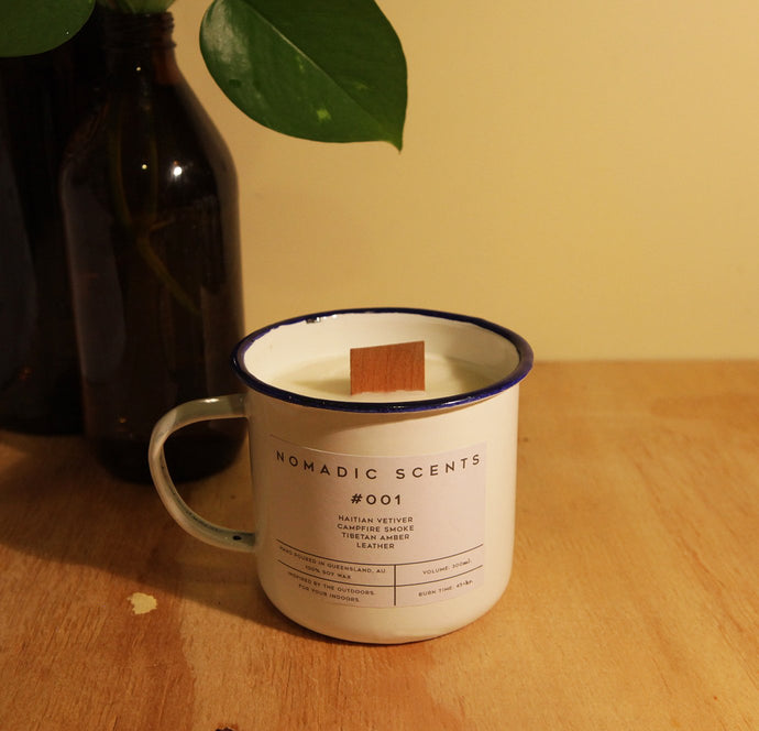 Nomadic Scents - #001 - Vetiver / Leather / Campfire Smoke / Amber - 300ml Candle