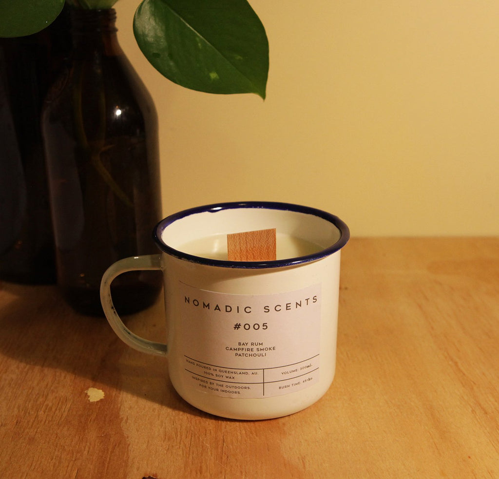 Nomadic Scents - #005 - Bay Rum / Campfire Smoke / Patchouli - 300ml Candle
