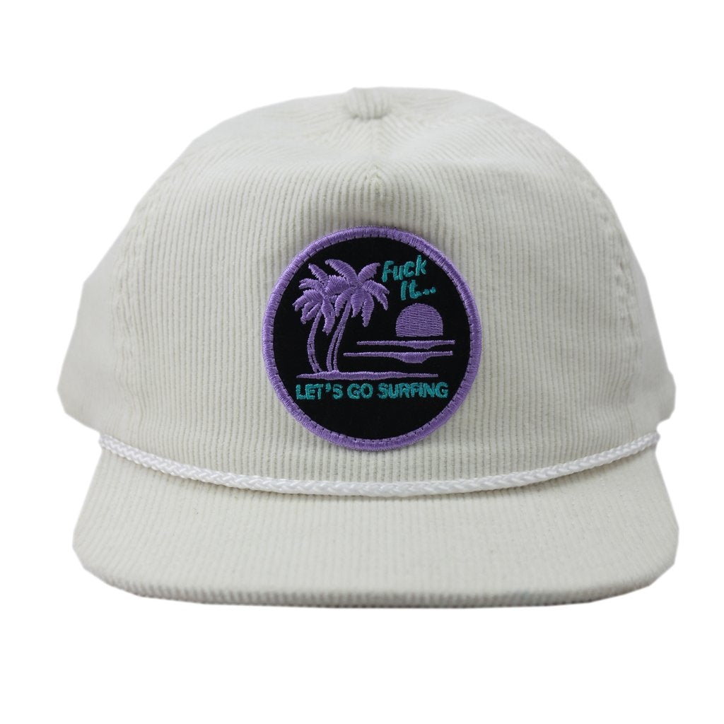 Lobster Shanty 'Let's Go Surfing' White Corduroy Snapback